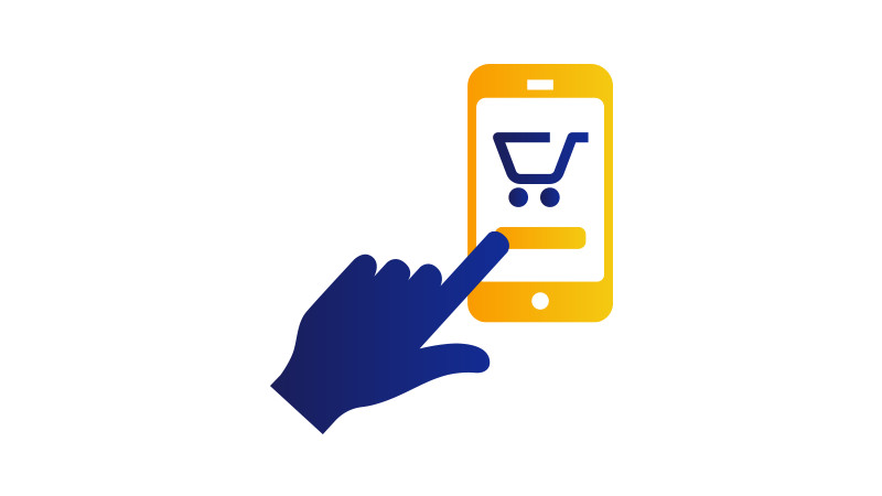 Illustration of a finger poised to click a shopping cart button on a mobile phone.